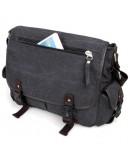 Фотография Мужская тканевая сумка на плечо чёрная 79035a