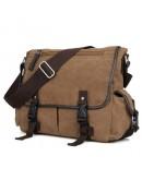 Фотография Мужская тканевая сумка на плечо коричневая 79035c