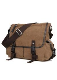 Мужская тканевая сумка на плечо коричневая 79035c