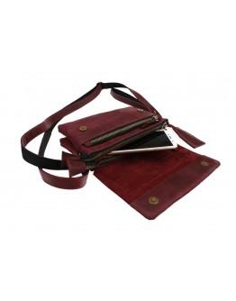 Кожаная женская кожаная сумка - клатч бордовая 7932W-SKE