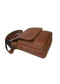 Рыжая кожаная вместительная мужская сумка на плечо 79773889-SGE