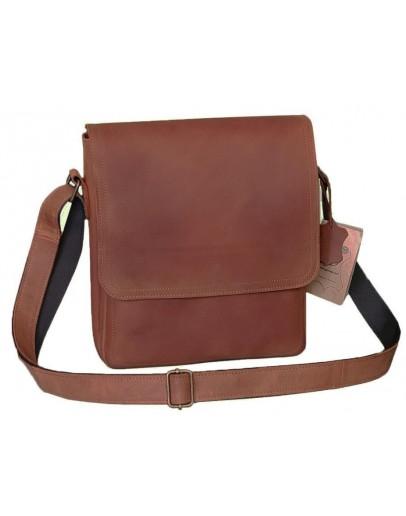 Фотография Рыжая кожаная вместительная мужская сумка на плечо 79773889-SGE