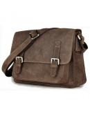Фотография Тёмно-коричневая мужская кожаная сумка на плечо 79807r