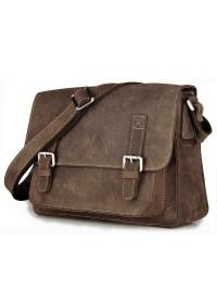 Тёмно-коричневая мужская кожаная сумка на плечо 79807r