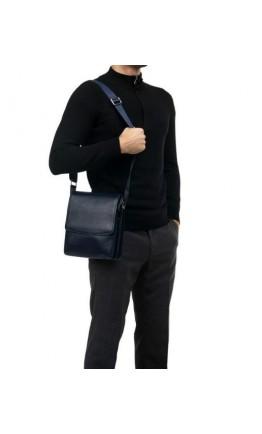 Мужской кожаный мессенджер синего цвета 79832BL