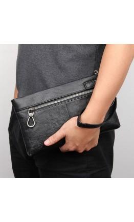 Большой черный мужской кожаный клатч 7C010A
