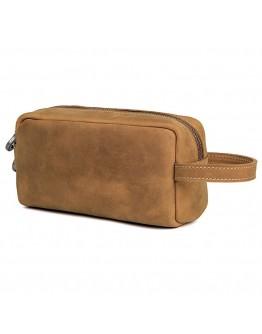 Кожаная винтажная мужская сумка барсетка - нессер 7C013B