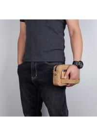 Кожаная винтажная мужская барсетка - нессер 7C016B