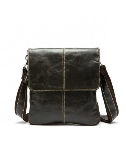 Фотография Коричневая мужская повседневная сумка из кожи m8006