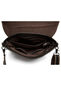 Чёрная кожаная мужская плечевая сумка 8007-1A