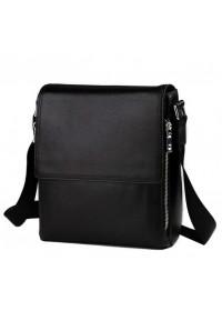 Мужская чёрная сумка из натуральной кожи на плечо 8009-1