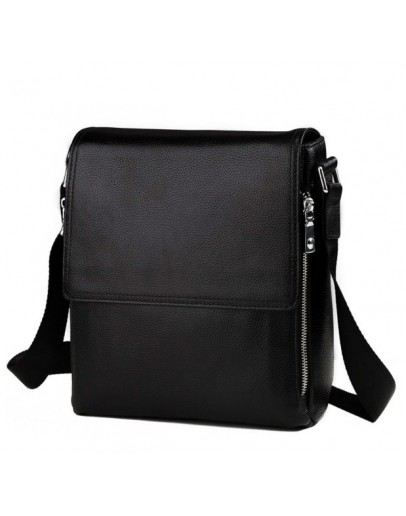 Фотография Мужская чёрная сумка из натуральной кожи на плечо 8009-1