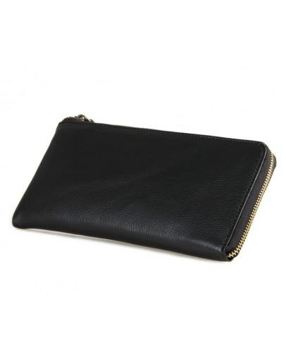 Фотография Черный клатч - портмоне из натуральной телячьей кожи 78066