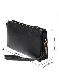 Вместительный и модный черный кожаный клатч 78071A
