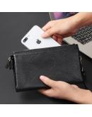 Фотография Вместительный и модный черный кожаный клатч 78071A