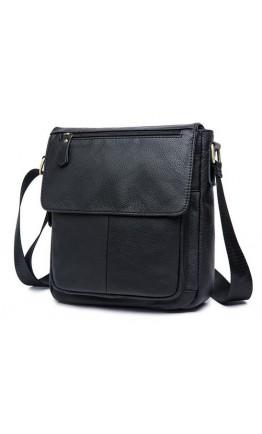 Чёрная кожаная сумка мужская на плечо 819A