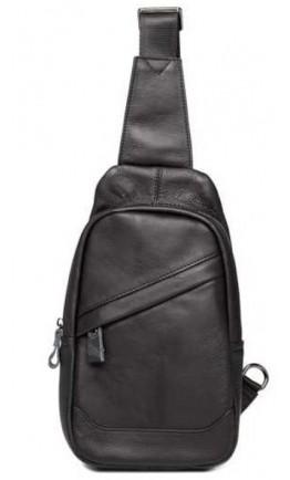 Черный слинг мужской кожаный черный 8437A
