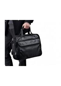 Вместительная мужская черная кожаная сумкаTiding Bag 8712A