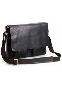 Классическая большая кожаная сумка на плечо коричневая 78737