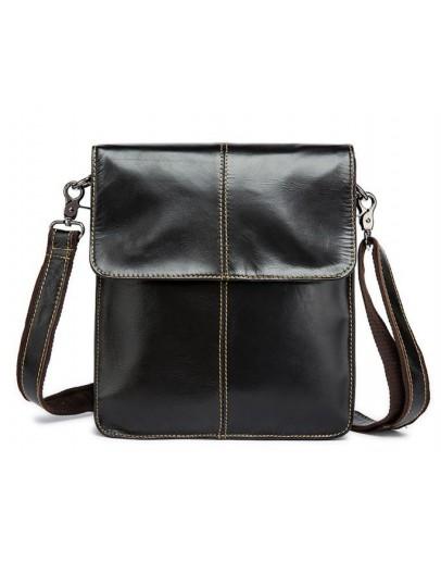 Фотография Удобная кожаная мужская сумка через плечо коричневая 7060