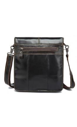 Удобная кожаная мужская сумка через плечо коричневая 7060