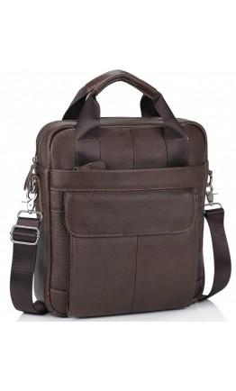 Темно-коричневый кожаный мужской мессенджер A4 M38-8861B