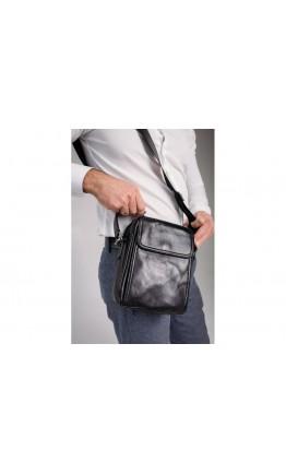 Мужская черная кожаная сумка на плечо Tiding Bag 8912A
