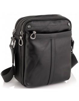 Сумка черная мужская кожаная на плечо Tiding Bag 8915A