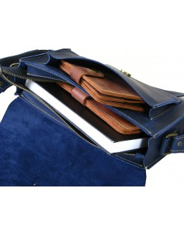 Женская синяя кожаная сумка на плечо 89943-SGE