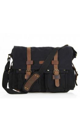 Очень вместительная черная мужская сумка из ткани и кожи 79005A