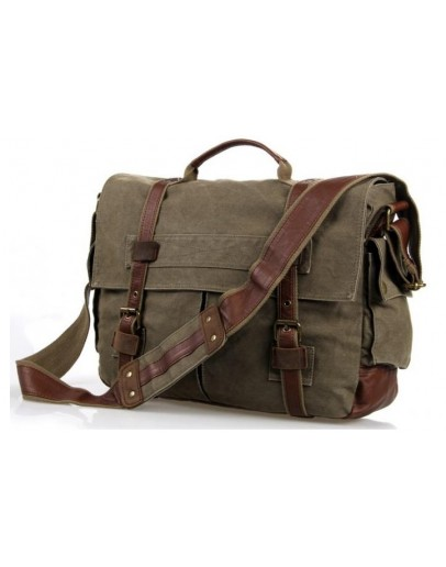 Фотография Вместительная сумка из ткани на плечо цвета хаки 79009N