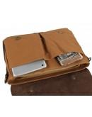 Фотография Сумка - портфель коричневого цвета ткань плюс кожа 79013b