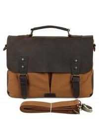 Сумка - портфель коричневого цвета ткань плюс кожа 79013b