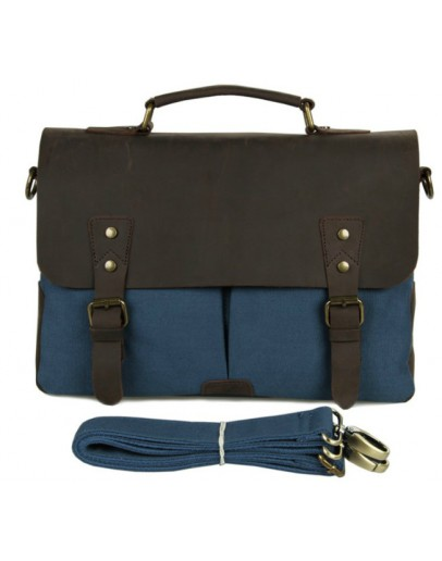 Фотография Стильный портфель ткань и кожа модного синего цвета 79013k