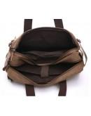 Фотография Коричневая сумка - рюкзак из плотной ткани и кожи 79030c