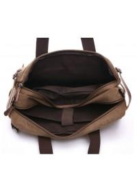 Коричневая сумка - рюкзак из плотной ткани и кожи 79030c