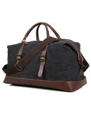 Фотография Большая кожаная тканевая сумка чёрная дорожная 79038a