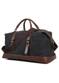 Большая кожаная тканевая сумка чёрная дорожная 79038a