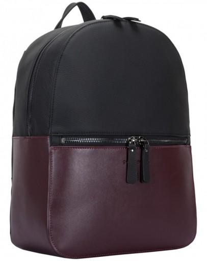 Фотография Женский кожаный рюкзак Smith & Canova 92901 Francis (Black-Burgundy)