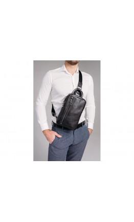 Черный мужской кожаный слинг Tiding Bag 9801A
