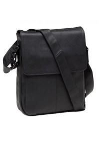 Черный удобный мужской кожаный мессенджер 9805A
