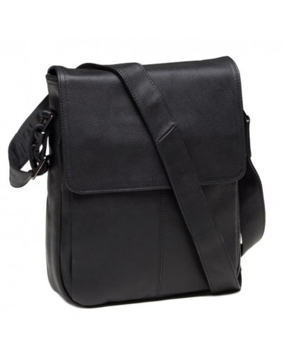 Фотография Черный удобный мужской кожаный мессенджер 9805A