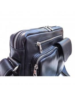Сумка черная кожаная на плечо формата А4 Newery N9812GA