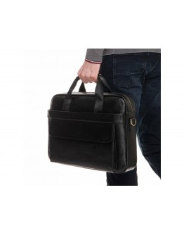 Мужская кожаная вместительная черная сумка A25-1131A