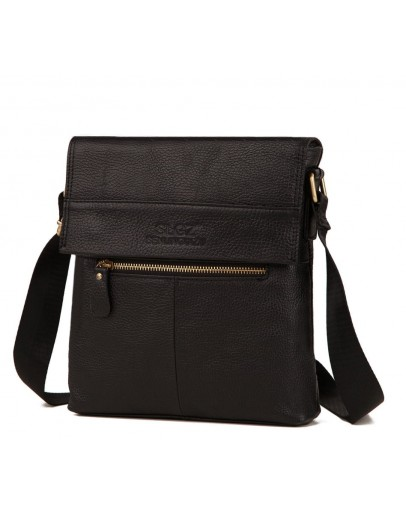 Фотография Черная плечевая мужская сумка кожаная A25-1205A