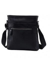 Черная кожаная сумка - планшетка без клапана A25-1223A