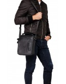 Фотография Черная мужская кожаная сумка, для города A25-2158a