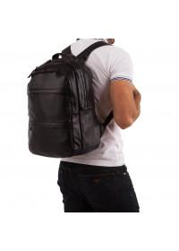 Рюкзак мужской черный кожаный мягкий A25-333A