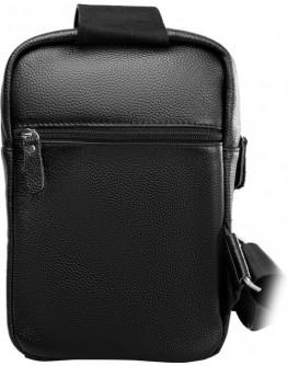 Рюкзак черный кожаный на одну шлейку A25-6896A