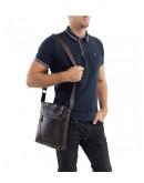 Фотография Мессенджер коричневый мужской, кожаный A25-9126C